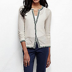 Lands' End - Cream women's pointelle tipped fine gauge supima cardigan
