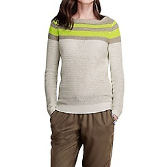 Lands' End - Grey women's linen cotton colourblock crew neck jumper
