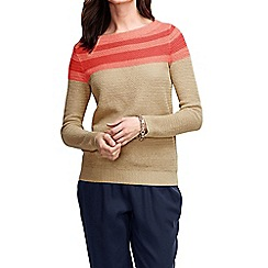 Lands' End - Pink women's linen cotton colourblock crew neck jumper
