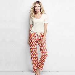 Lands' End - Pink women's poplin pyjama bottoms petite