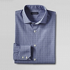 Lands' End - Blue men's tailored fit dobby check spread collar shirt