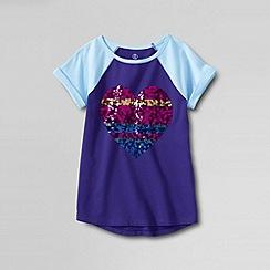 Lands' End - Purple little girls' curved hem embellished graphic tee