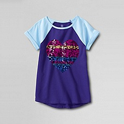 Lands' End - Purple girls' curved hem embellished graphic tee
