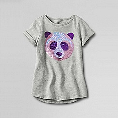 Lands' End - Grey little girls' uneven hem embellished spring graphic tee