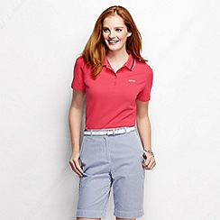 Lands' End - Red women's short sleeve pique tipped polo shirt