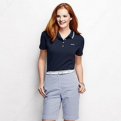 Lands' End - Blue women's short sleeve pique tipped polo shirt petite