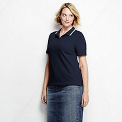 Lands' End - Blue women's classic fit short sleeve pique tipped polo shirt