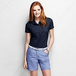 Lands' End - Blue women's slim fit short sleeve pique polo shirt