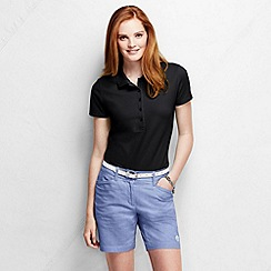 Lands' End - Black women's slim fit short sleeve pique polo shirt