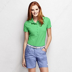 Lands' End - Green women's slim fit short sleeve pique polo shirt