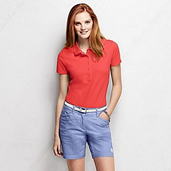 Lands' End - Pink petite slim fit short sleeve pique polo shirt