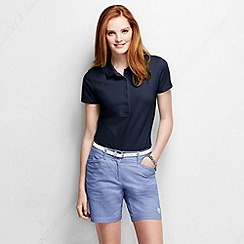 Lands' End - Blue women's slim fit short sleeve pique polo shirt