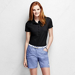 Lands' End - Black petite slim fit short sleeve pique polo shirt
