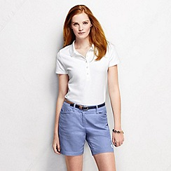 Lands' End - White women's slim fit short sleeve pique polo shirt