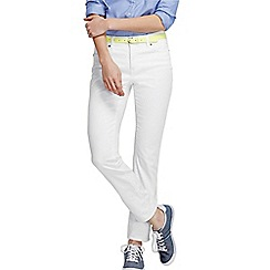 Lands' End - White womens mid rise five pocket slim denim jeans