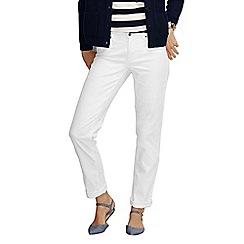 Lands' End - White women's five pocket denim turn up jeans