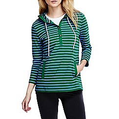 Lands' End - Blue women's three quarter sleeve jersey henley stripe hoodie