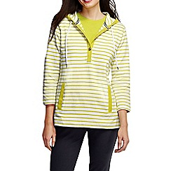 Lands' End - Green women's three quarter sleeve jersey henley stripe hoodie
