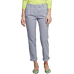 Lands' End - Blue women's regular low rise pleated seersucker chinos