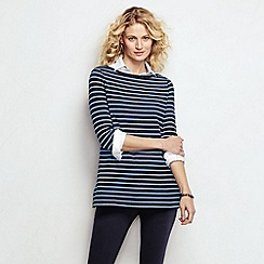 Lands' End - Blue women's three quarter sleeve starfish striped boatneck tunic
