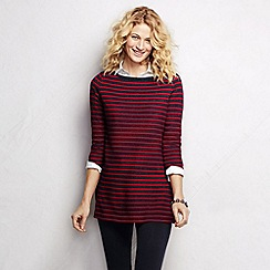 Lands' End - Red women's three quarter sleeve starfish striped boatneck tunic