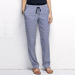 Lands' End - Blue women's regular woven print soft trousers