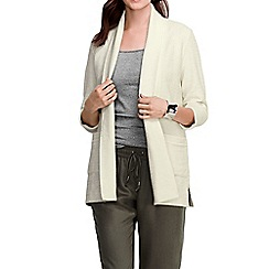 Lands' End - White women's three quarter sleeve starfish textured open cardigan
