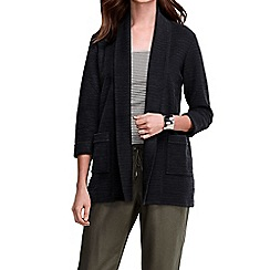 Lands' End - Black women's three quarter sleeve starfish textured open cardigan
