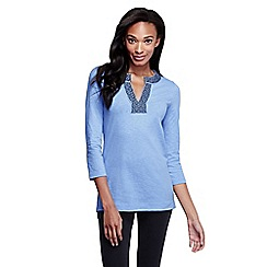 Lands' End - Blue women's three quarter sleeve starfish applique trim tunic