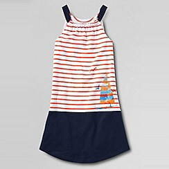 Lands' End - Orange little girls' gathered front graphic knit tank dress