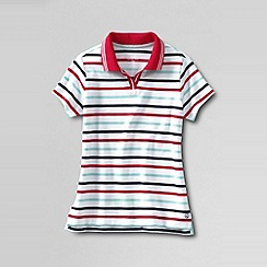 Lands' End - Red little girls' short sleeve tipped collar polo shirt