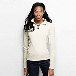 Lands' End - Cream women's microgrid fleece half zip