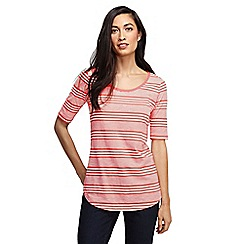 Lands' End - Pink women's striped scoop neck tunic