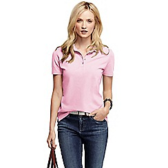 Lands' End - Pink women's pique short sleeve polo shirt petite