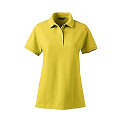 Lands' End - Yellow petite pique short sleeve polo shirt