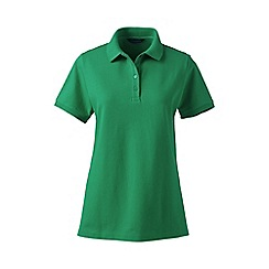 Lands' End - Green petite pique short sleeve polo shirt