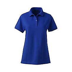 Lands' End - Blue pique short sleeve polo shirt petite