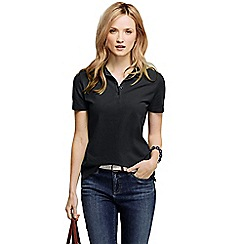 Lands' End - Black women's pique short sleeve polo shirt petite