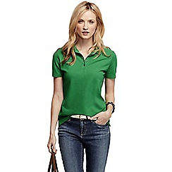 Lands' End - Green women's pique short sleeve polo shirt petite