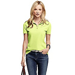 Lands' End - Yellow women's pique short sleeve polo shirt petite