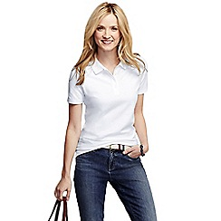 Lands' End - White women's pique short sleeve polo shirt petite