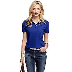 Lands' End - Blue women's pique short sleeve polo shirt petite