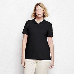 Lands' End - Black plus classic fit short sleeve pique polo