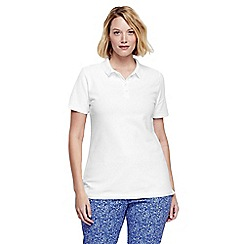 Lands' End - White women's classic fit short sleeve pique polo
