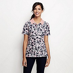 Lands' End - Pink women's short sleeve tipped collar printed polo shirt