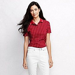 Lands' End - Red women's short sleeve tipped collar printed polo shirt