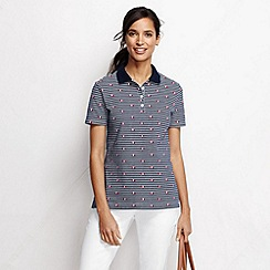 Lands' End - Blue women's short sleeve tipped collar printed polo shirt