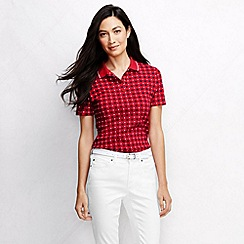 Lands' End - Red women's classic fit short sleeve tipped collar printed polo shirt petite