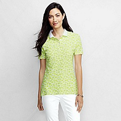 Lands' End - Blue women's classic fit short sleeve tipped collar printed polo shirt petite