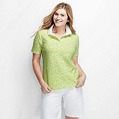 Lands' End - Blue women's plus size short sleeve tipped collar printed polo shirt